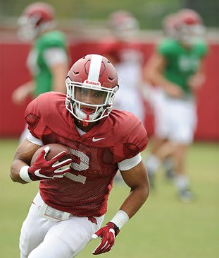 NWA Democrat-Gazette/Andy Shupe HARD AT WORK: Arkansas running back Chase Hayden carries the ball during practice last week at the university's practice field in Fayetteville. Hayden broke loose for a 47-yard touchdown in the team's first scrimmage.