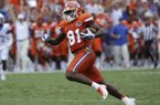 This Sept. 10, 2016 file photo shows Florida wide receiver Antonio Callaway (81) running after a reception against Kentucky in the first half of an NCAA college football game in Gainesville, Fla. Florida has suspended Callaway and six others for the team's season opener against Michigan. A person familiar with the situation tells The Associated Press the players were suspended for misusing school-issued funds. The person spoke to the AP on the condition of anonymity Sunday, Aug. 13, 2017 because Florida did not release details of the suspensions. (AP Photo/John Raoux)
