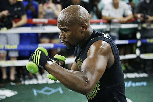 floyd-mayweather-jr-trains-for-his-scheduled-aug-26-bout-against-conor-mcgregor-in-las-vegas-mayweather-and-mcgregor-were-granted-a-request-wednesday-to-use-smaller-8-ounce-gloves