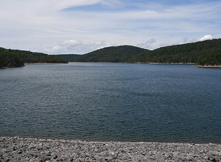 The Sentinel-Record/Mara Kuhn INTAKE SITE: The city has preliminary clearance to build an intake near Lake Ouachita's spillway landing area for the 23 million-gallon per day allocation it's currently paying the U.S. Army Corps of Engineers to store behind Blakely Mountain Dam.