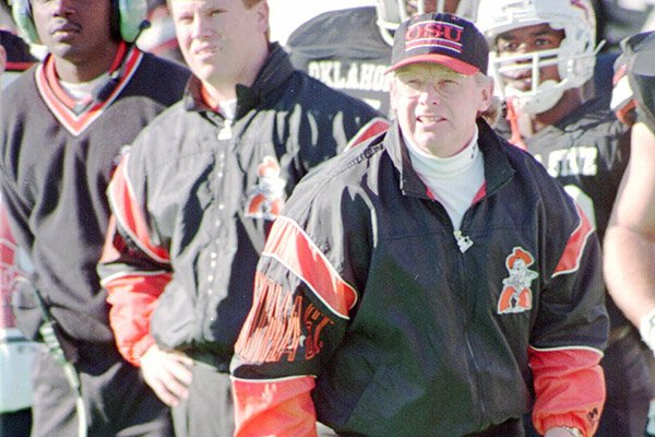 Oklahoma State football coach Pat Jones looks on during a 1993 game in Stillwater, Okla. (AP Photo/J. Pat Carter)