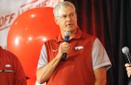 Arkansas defensive coordinator Paul Rhoads (center) answers questions Friday, Aug. 18, 2017, during the Kickoff Luncheon at the Northwest Arkansas Convention Center in Springdale.