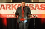 Arkansas coach Bret Bielema speaks Friday, Aug. 18, 2017, during the Kickoff Luncheon at the Northwest Arkansas Convention Center in Springdale.