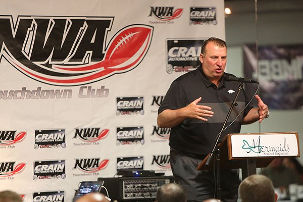 Arkansas coach Bret Bielema speaks during the Northwest Arkansas Touchdown Club on Wednesday, Aug. 23, 2017, in Fayetteville.