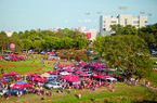 Fans tailgate prior to Arkansas' game against LSU on Saturday, Nov. 27, 2010, at War Memorial Stadium in Little Rock.