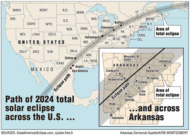 MAP Total Solar Eclipse Path Goes Right Over Arkansas - Arkansas on a us map
