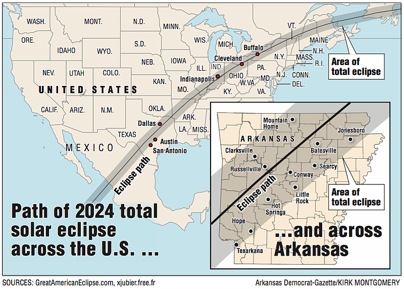 Map 2024 Total Solar Eclipse Path Goes Right Over Arkansas