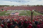 Arkansas fans wait for the kickoff of a game against Georgia on Saturday, Oct. 18, 2014, at War Memorial Stadium in Little Rock.