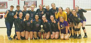 Submitted photo Mena business: Fountain Lake went unbeaten in the Mena Invitational volleyball tournament Saturday, defeating Lakeside, Lake Hamilton, Mansfield, Booneville and Jessieville. Team members and coaches pictured are, l-r, front row, Elizabeth Bairett, Molly Breshears, Nikea Nero, Olivia Cox, Lyndsey Blees and Alexis Staggs; top row, coach Tina Moore, left, coach Michaela Biehlisch, Emily Hughes, Gracie Westerman, Emoree Martin, Emiley Burke, Kaitlyn Bledsoe, Erin Graves, Lenaya Hefner, Sierra Weeks and Amy James.