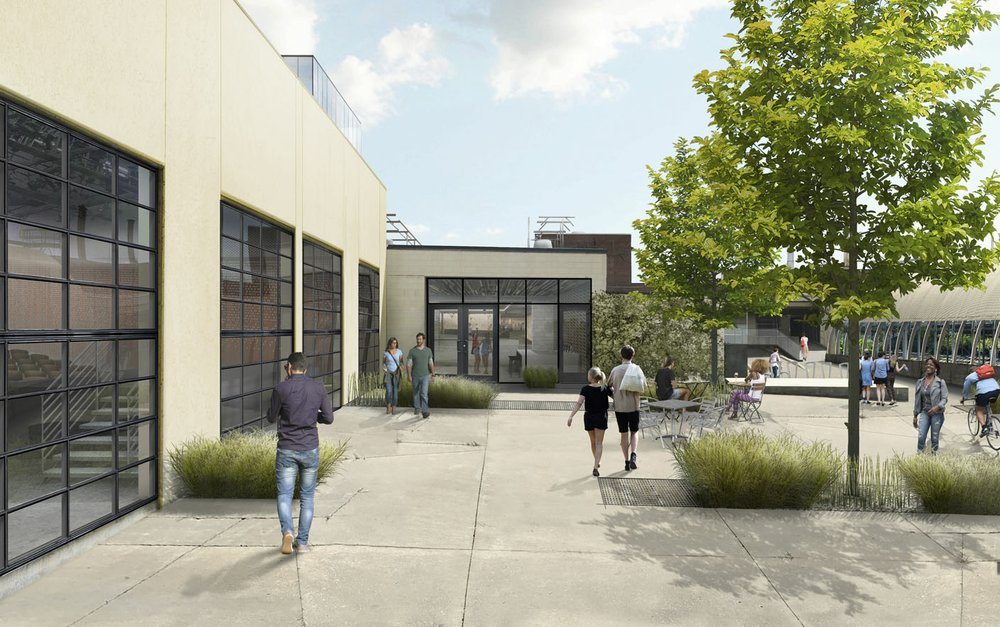 This artist's conception shows the Momentary's East-facing storefront that opens to the large green space in Bentonville. An open courtyard surrounds the building.