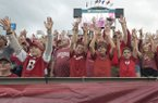 Arkansas fans call the Hogs before the football season opener against Florida A&M Thursday, Aug. 31, 2017, during the game at War Memorial Stadium in Little Rock.