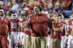 Arkansas coach Bret Bielema instructs his offense during the third quarter of an NCAA college football game against Florida A&M on Thursday, Aug. 31, 2017, in Little Rock, Ark. Arkansas won 49-7. (AP Photo/Gareth Patterson)
