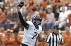 "In this Nov. 25, 2016, file photo, TCU quarterback Kenny Hill (7) throws against Texas during the first half of an NCAA college football game, in Austin, Texas. Hill knows some people prefer to focus on his Big 12-most 17 interceptions and losing record at TCU Hill, a senior going into his last first game, wants ""to come out and change the narrative."" (AP Photo/Eric Gay, File)"