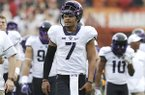 TCU quarterback Kenny Hill (7) during the first half of an NCAA college football game against Texas, Friday, Nov. 25, 2016, in Austin, Texas. (AP Photo/Eric Gay)