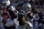 Dallas Cowboys running back Darren McFadden (10) takes a handoff from quarterback Kellen Moore during the first half of a preseason NFL football game against the Los Angeles Rams, Saturday, Aug. 12, 2017, in Los Angeles. (AP Photo/Jae C. Hong)