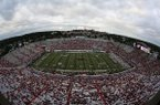 War Memorial Stadium is shown during pregame ceremonies on Thursday, Aug. 31, 2017, prior to a game between Arkansas and Florida A&M. An announced attendance of 36,055 was at the game.
