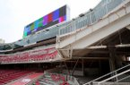 Construction work continues at Donald W. Reynolds Razorback Stadium on Tuesday, Sept. 5, 2017, in Fayetteville. The Razorbacks will play TCU at the stadium Saturday in the first game since construction began last November.