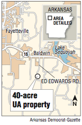 A map showing the 40-acre UA property