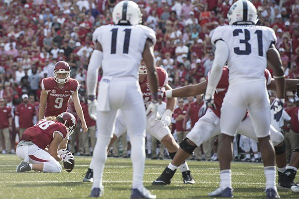 Arkansas kicker Cole Hedlund (9) attempts a field goal during the fourth quarter of a game against TCU on Saturday, Sept. 9, 2017, in Fayetteville. Hedlund missed the 20-yard attempt.