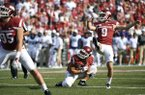 Arkansas kicker Cole Hedlund misses a field goal-attempt in the second half of an NCAA college football game against TCU in Fayetteville, Ark., Saturday, Sept. 9, 2017. (AP Photo/Michael Woods)