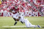 TCU Horned Frogs vs Arkansas Razorbacks ñJared Cornelius (1) of the Razorbacks tries to break tackle of Ranthony Texada (11) of Horned Frogs Donald W. Reynolds Razorback Stadium, University of Arkansas,  Fayetteville, AR, on Saturday, September 9, 2017,  © 2017 David Beach