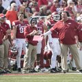 Arkansas coach Bret Bielema questions a referee during the game against TCU Saturday Sept. 9, 2017 a...