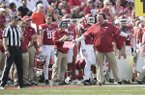 Arkansas coach Bret Bielema questions a referee during the game against TCU Saturday Sept. 9, 2017 at Donald W. Reynolds Razorback Stadium in Fayetteville. Arkansas lost 28-7.