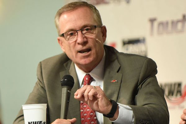 Jeff Long, University of Arkansas, Fayetteville, athletic director, answers questions Wednesday Sept. 6 2017 at the NWA Touchdown Club.