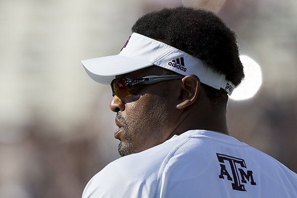 Texas A&M head coach Kevin Sumlin enters Kyle Field before an NCAA college football game against Nicholls State, Saturday, Sept. 9, 2017, in College Station, Texas. (AP Photo/Sam Craft)