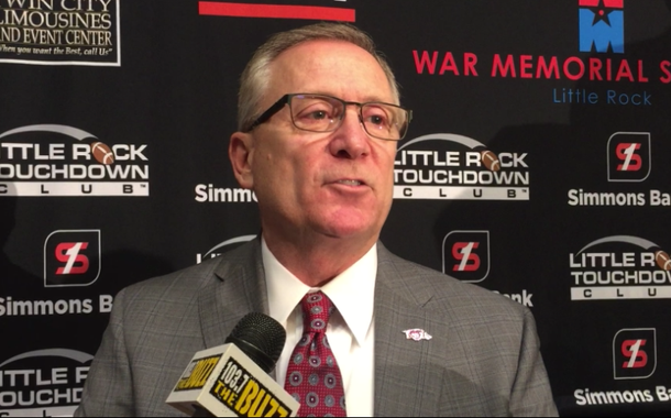 Jeff Long speaks to reporters Monday after addressing the Little Rock Touchdown Club.