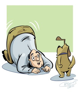Arkansas Democrat-Gazette talking dog illustration.