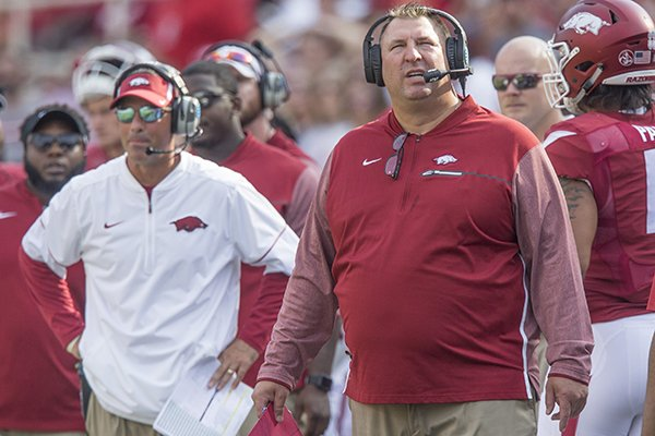 arkansas-coach-bret-bielema-right-and-offensive-coordinator-dan-enos-react-during-a-game-against-tcu-on-saturday-sept-9-2017-in-fayetteville