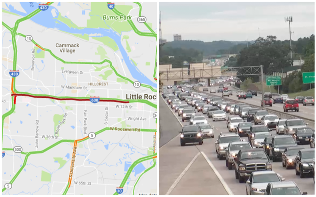 left-the-arkansas-online-traffic-map-shows-stalled-conditions-for-miles-right-a-screenshot-from-the-idrivearkansascom-live-cameras-shows-stopped-traffic-on-eastbound-i-630-photo-by-arkansas-department-of-transportation