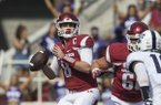 Arkansas quarterback Austin Allen throws a pass during a game against TCU on Saturday, Sept. 9, 2017, in Fayetteville.