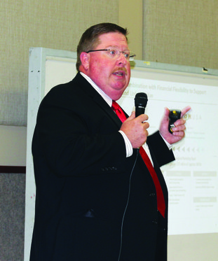 Business Plan: Jeff Brewer, technical support manager for Delek in El Dorado, tells about the company and plans for the future, during the recent El Dorado Chamber of Commerce Economic Luncheon.