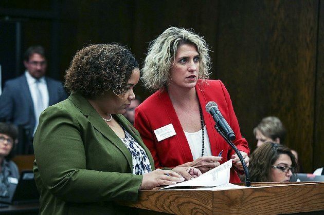 alexandra-boyd-left-director-of-public-charter-schools-for-the-arkansas-department-of-education-and-jennifer-davis-staff-attorney-for-the-department-are-shown-in-this-file-photo