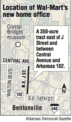 Wal mart to build new headquarters site set near downtown bentonville map gumiabroncs Images