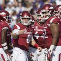 Quarterback Austin Allen looks toward the sideline as Arkansas takes on TCU Saturday, Sept. 9, 2017,...