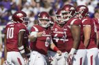 Quarterback Austin Allen looks toward the sideline as Arkansas takes on TCU Saturday, Sept. 9, 2017, during the game at Razorback Stadium in Fayetteville.
