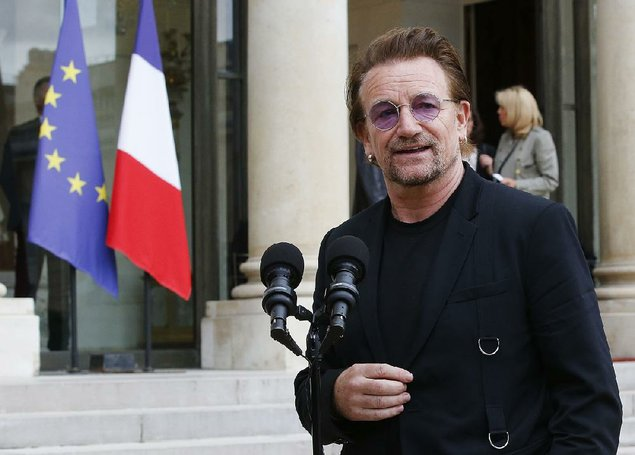 U2 singer Bono is shown at the Elysee Palace in Paris France Monday