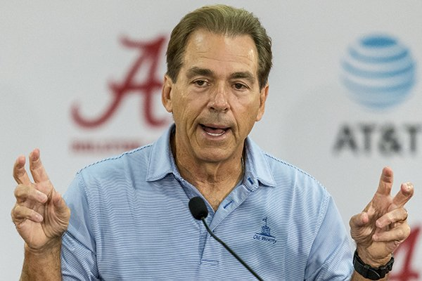 Alabama NCAA college football coach Nick Saban talks with the media at his weekly press conference, Monday, Sept. 4, 2017, at Naylor-Stone Media Suite in Tuscaloosa, Ala. (AP Photo/Alabama Media Group, (Vasha Hunt/AL.com via AP)