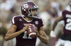 Texas A&M quarterback Kellen Mond (11) looks to pass against Nicholls State during the first quarter of an NCAA college football game Saturday, Sept. 9, 2017, in College Station, Texas. (AP Photo/Sam Craft)