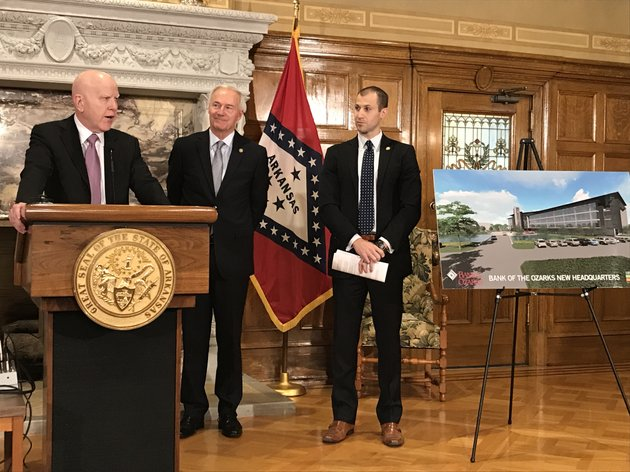 bank-of-the-ozarks-ceo-george-gleason-announced-plans-for-a-new-little-rock-headquarters-tuesday-at-the-state-capitol-where-he-was-joined-by-gov-asa-hutchinson-and-arkansas-economic-development-commission-officials
