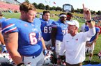 SMU Coach Chad Morris (right) contacted Arkansas State Coach Blake Anderson for guidance in 2014, as Anderson was completing his first season at ASU and just after Morris had accepted his first collegiate head coach position with the Mustangs.