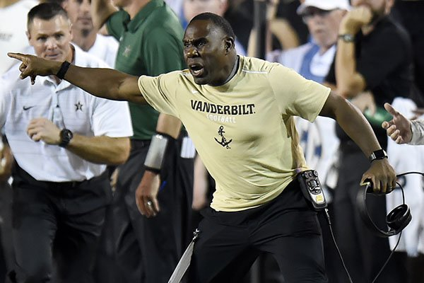 Vanderbilt head coach Derek Mason yells at an official during the first half of an NCAA college football game against Kansas State, Saturday, Sept. 16, 2017, in Nashville, Tenn. (AP Photo/Mark Zaleski)