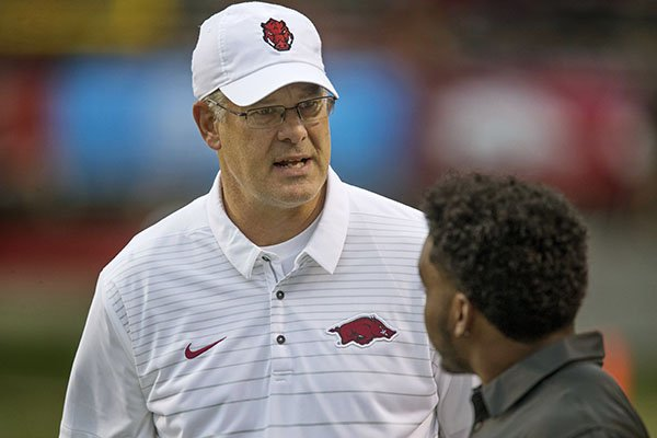 Arkansas defensive coordinator Paul Rhoads is shown prior to a game against Florida A&M on Thursday, Aug. 31, 2017, in Little Rock.