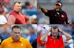 Clockwise are Arkansas coach Bret Bielema, Texas A&M coach Kevin Sumlin, Auburn coach Gus Malzahn and Tennessee coach Butch Jones. The coaches at four of the most popular programs in the SEC are among the league's most tenured, but are facing heat after their teams suffered early-season losses. (AP Photos)