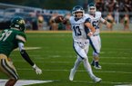 Greenwood quarterback Connor Noland throws a pass during a game against Alma on Friday, Sept. 15, 2017, in Alma.