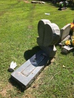 A vandal drove a truck through a cemetery in Bono on Tuesday night, damaging multiple tombstones.
