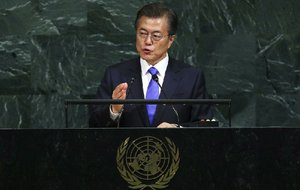 """We do not desire the collapse of North Korea,"" South Korean President Moon Jae-in said Thursday in his address to the U.N. General Assembly. He called on world leaders to ""peacefully solve"" the North Korea nuclear threat."